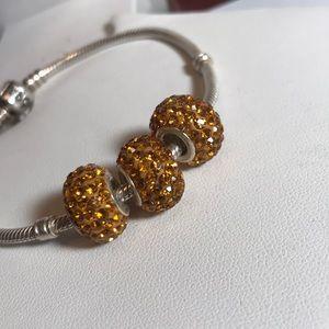 Jewelry - (X3) S925 Silver Swarovski Elements sparkling gold
